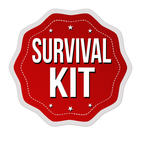 Survival kit label or sticker on white background, vector illustration