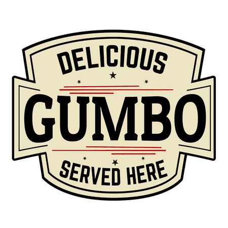 Delicious Gumbo label or icon  on white background, vector illustration