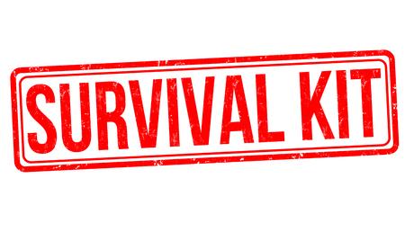 Kit de supervivencia grunge sello de goma sobre fondo blanco, ilustración vectorial