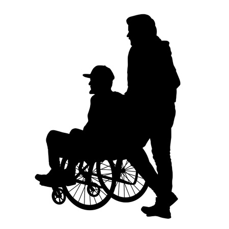 Man in a wheelchair on a white background, vector illustration