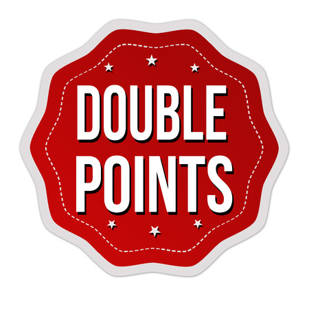 Double points label or sticker on white background, vector illustration