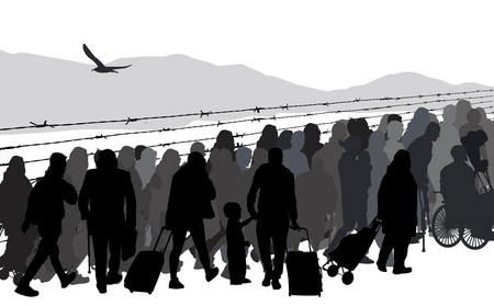 Silhouettes of refugees people behind barbed wire on white background, vector illustration