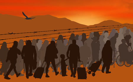 Silhouettes of refugees people behind barbed wire on sunset, vector illustration
