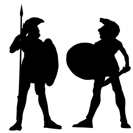 Spartan warrior silhouettes on white background, vector illustration