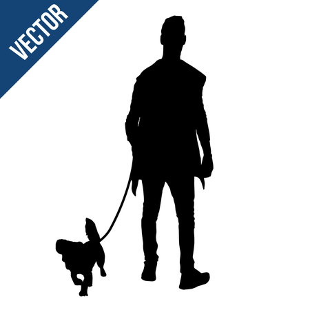Silhouette of a man with a dog on white background, vector illustration