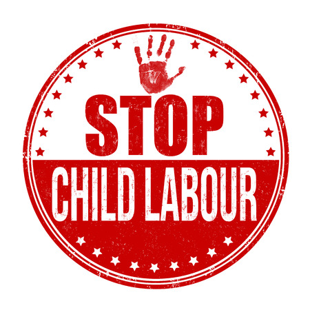 Stop child labour grunge rubber stamp on white background, vector illustration