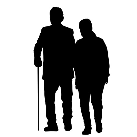 Senior couple silhouette on a white background, vector illustration  イラスト・ベクター素材
