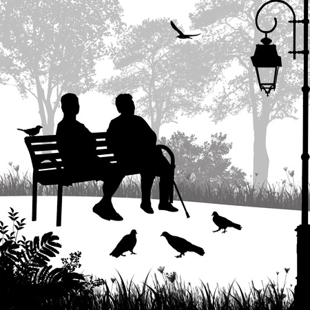 Two elderly woman silhouettes in the park sitting on the bench, vector illustration  Stock Illustratie