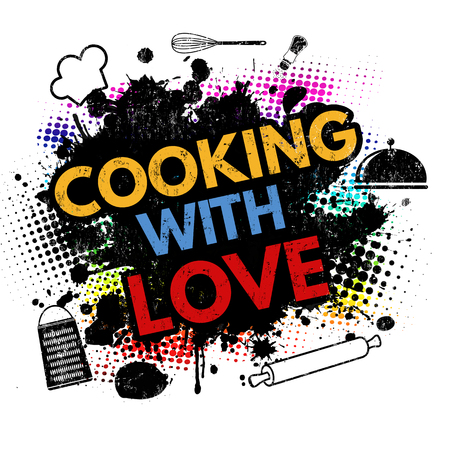 Cooking with love on black ink splatter background, vector illustration Illustration