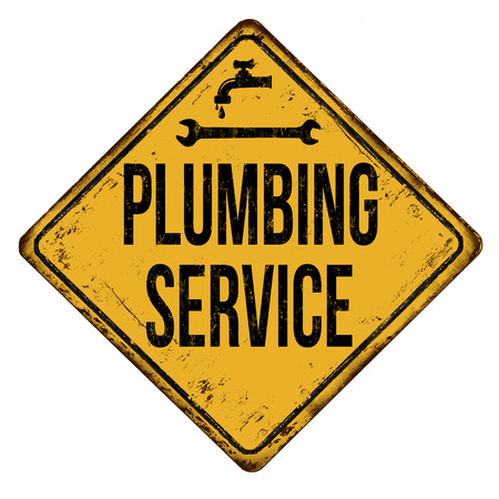 Plumbing service vintage rusty metal sign on a white background, vector illustration  イラスト・ベクター素材
