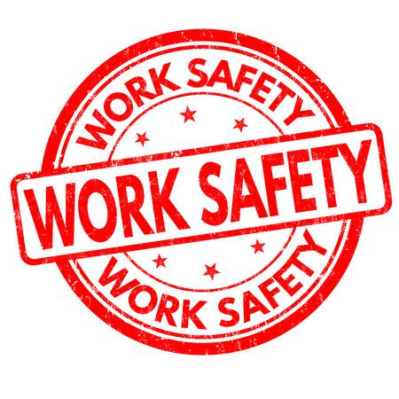 Work safety grunge rubber stamp on white background, vector illustration Stock Illustratie