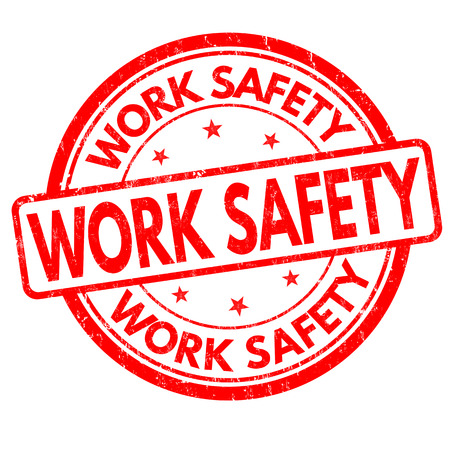 Work safety grunge rubber stamp on white background, vector illustration