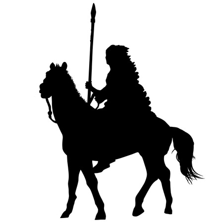 Native american indian silhouette riding a horse on white background, vector illustration