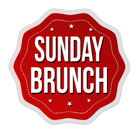 Sunday brunch label or sticker on white background, vector illustration