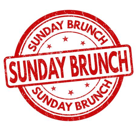 Sunday brunch grunge rubber stamp on white background, vector illustration