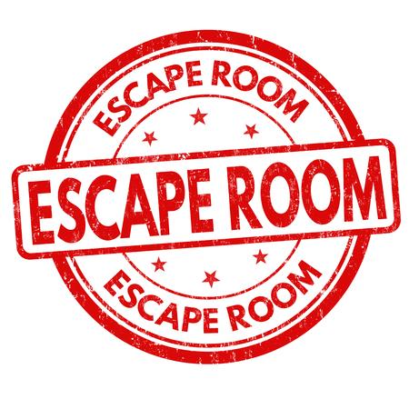 Tampon en caoutchouc grunge salle d'évasion sur fond blanc, illustration vectorielle Vecteurs