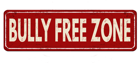 Bully free zone vintage rusty metal sign on a white background, vector illustration