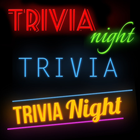 Trivia night glowing neon sign on black background, vector illustration