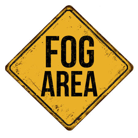 Fog area vintage rusty metal sign on a white background, vector illustration Çizim