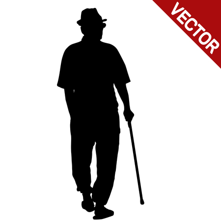 Old man silhouette with stick on white background, vector illustration