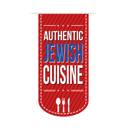 Jewish cuisine banner design on white background, vector illustration