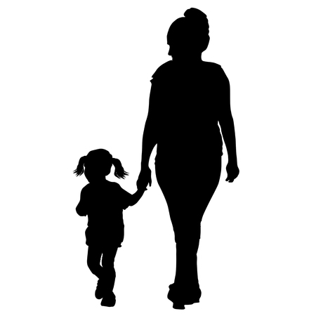 Silhouette of a mother walking by the hand with little daughter on white background, vector illustration