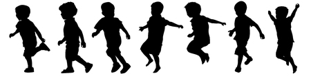 Children silhouettes playing on white background, vector illustration