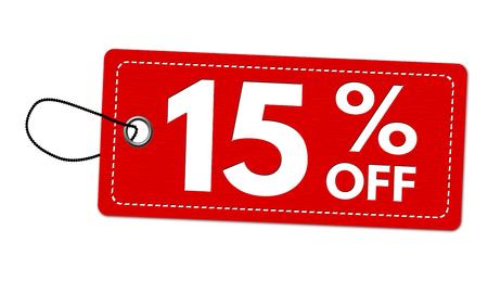 Oferta especial 15% de descuento en etiqueta o precio sobre fondo blanco.