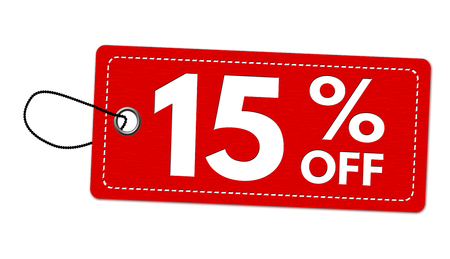 Special offer 15% off label or price tag on white background