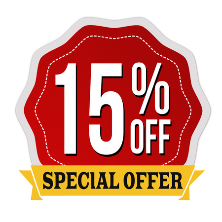 Special offer 15% off label or sticker on white background