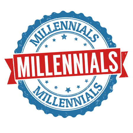 Millennials grunge rubber stamp on white background