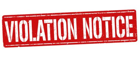 Violation notice grunge rubber stamp on white background Ilustrace