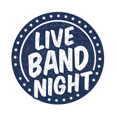 Live band night grunge rubber stamp on white background, vector illustration