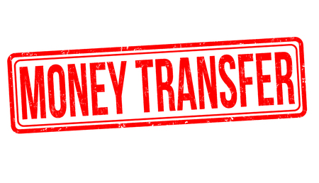Money transfer grunge rubber stamp on white background, vector illustration
