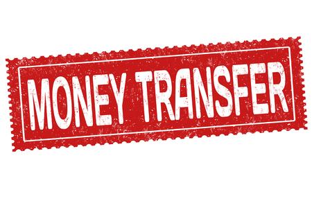 Money transfer grunge rubber stamp on white background, vector illustration