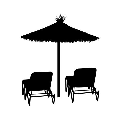 Due chaise longue e ombrellone silhouette su sfondo bianco, illustrazione vettoriale