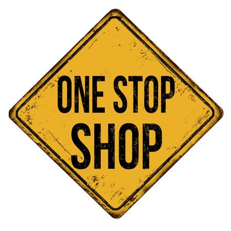 One-stop-shop vintage roestige metalen bord op een witte achtergrond, vector illustratie Vector Illustratie