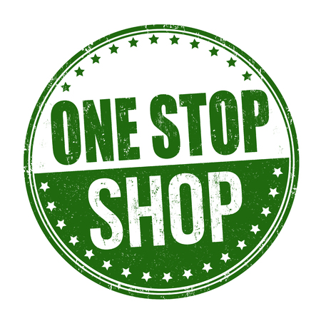Jeden przystanek sklep grunge pieczątka na białym tle, ilustracji wektorowych
