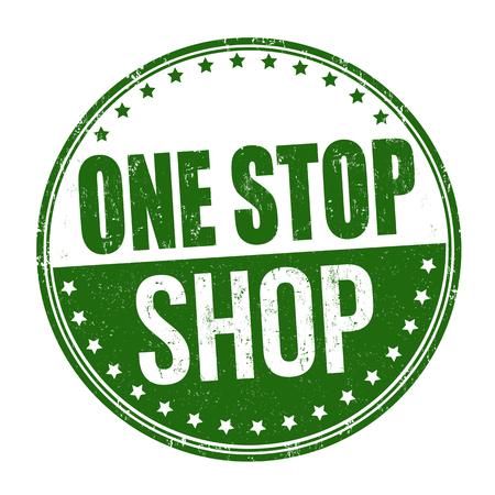 Timbro di gomma grunge one stop shop su sfondo bianco, illustrazione vettoriale