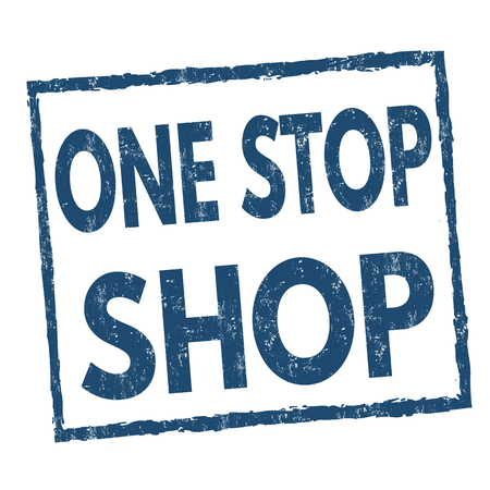 One stop shop grunge rubber stamp on white background, vector illustration Vektoros illusztráció