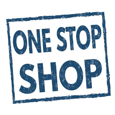 Timbro di gomma grunge one stop shop su sfondo bianco, illustrazione vettoriale Vettoriali