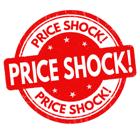 Price shock grunge rubber stamp on white background, vector illustration