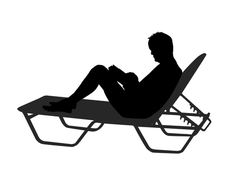 Vector silhouette of a man read book on chaise longue on white background Standard-Bild - 114948644
