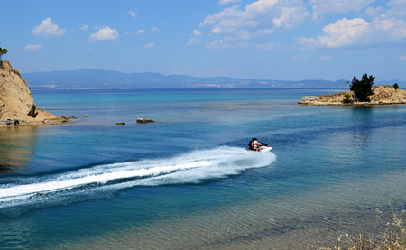 Beautiful view of Nea Potidea in Kassandra, Chalkidiki peninsula, Greece