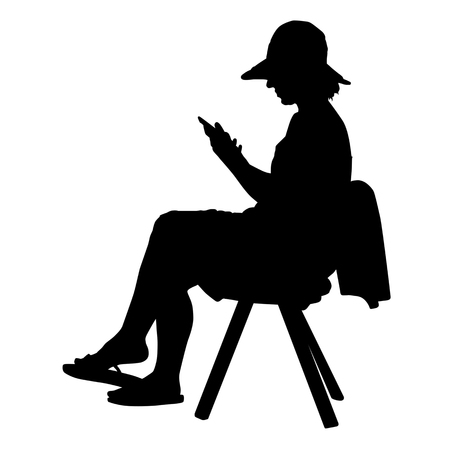 Woman silhouette sitting on a chair with mobile phone on white background, vector illustration