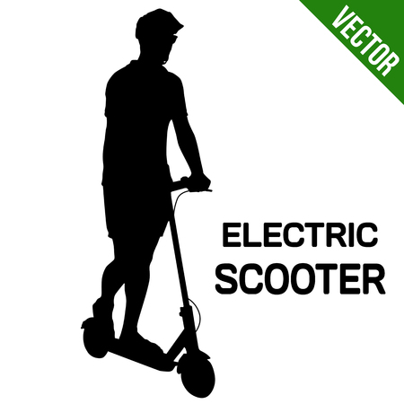 Man silhouette riding electric scooter on white background, vector illustration