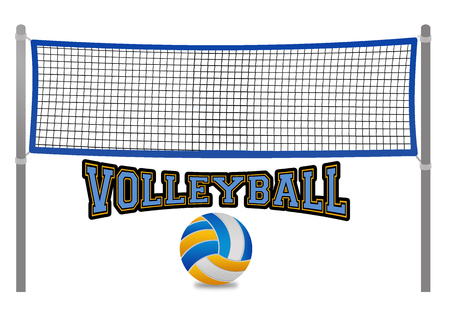 Beach volleyball net and ball on white background, vector illustration Çizim