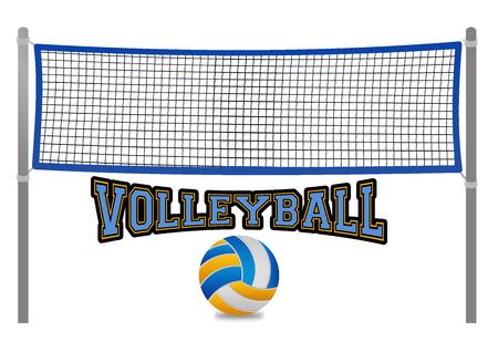 Red de voleibol de playa y pelota sobre fondo blanco, ilustración vectorial