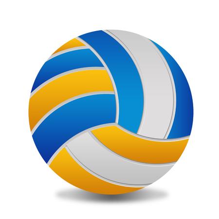 Pelota de voleibol sobre fondo blanco, ilustración vectorial