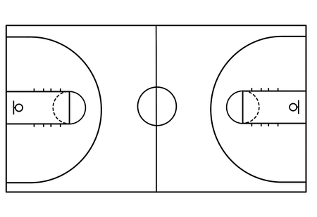 Basketball court on white background, vector illustration